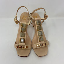 Load image into Gallery viewer, Vera Cuoio Natural Beige Tan Leather Jeweled T-Srap Heels