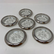 Load image into Gallery viewer, Vintage Silver Plate & Glass Coasters Set of Six As Is