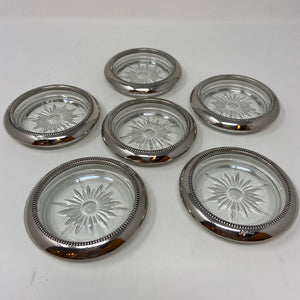 Vintage Silver Plate & Glass Coasters Set of Six As Is