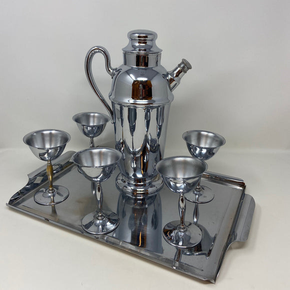 National Silver Company Vintage Chrome Plated Cocktail Shaker Cups & Tray Set