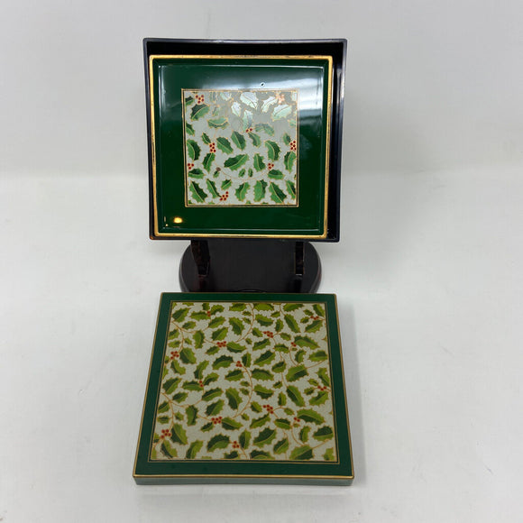 Vintage MaryAnn Baker for Otagiri Christmas Holly Coaster Set