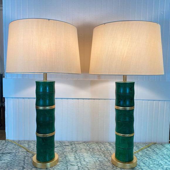 Green Marble & Gold Leaf Vintage Lamps Purchased at Summer Classics