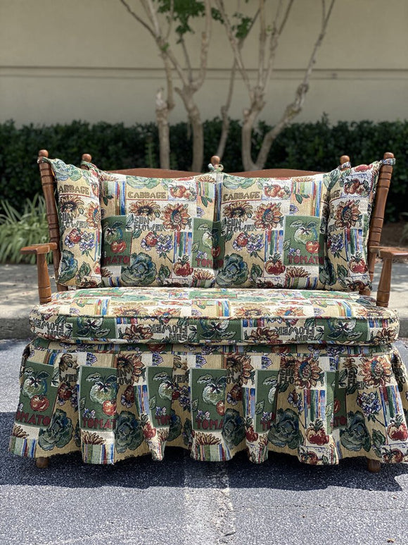 Vintage Tapestry Upholstered Skirted Settee