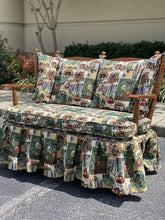 Load image into Gallery viewer, Vintage Tapestry Upholstered Skirted Settee