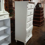 "Stanley Furniture Six Drawer White Lingerie Tall Chest with Round Bun Foots, 56"" H"
