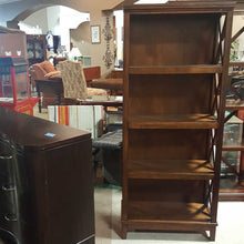 "Load image into Gallery viewer, Ashley Furniture Dark Finish and X designs 62"" Bookcase / Open Shelves"
