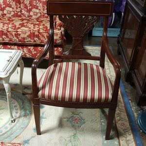 Mahogany Armchair w Carved Wheat Back by Hickory Chair