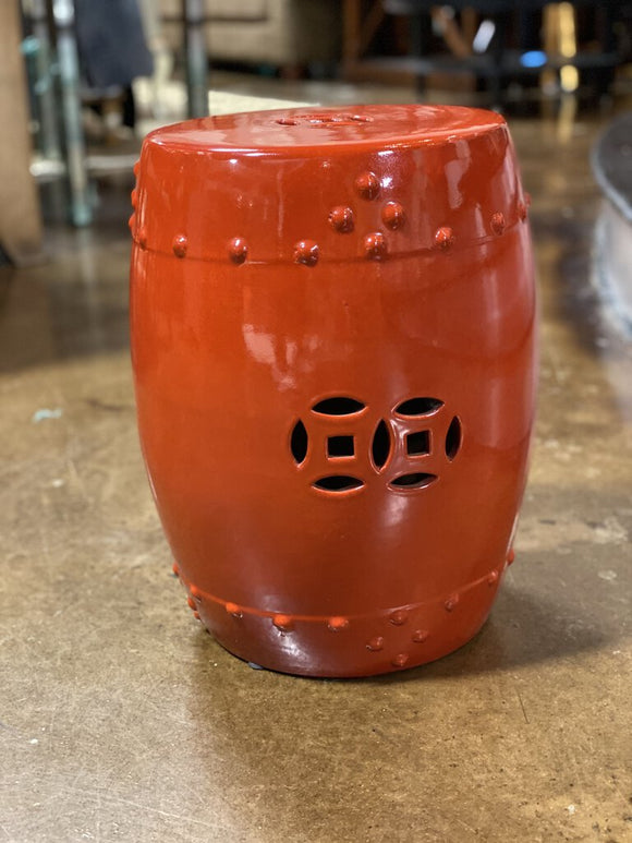 Red Asian Accent Ceramic Garden Stool 17