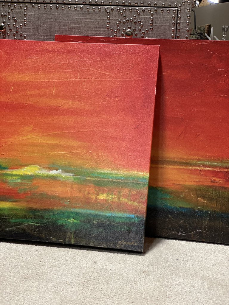 Red Sunset Wall Decor Canvas Art