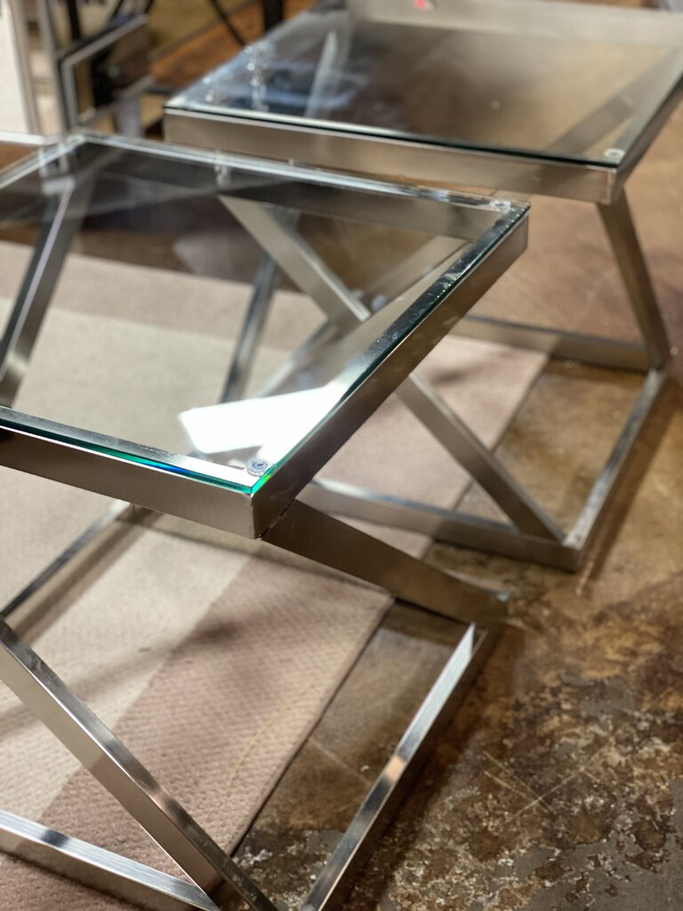 Modern Brush Metal Glass Top End Table - Pair