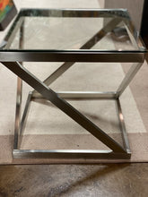 Load image into Gallery viewer, Modern Brush Metal Glass Top End Table - Pair