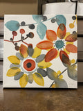 Red Yellow Blue Flowers Wall Decor Canvas Art