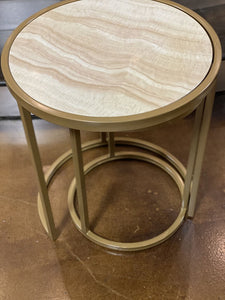 Stack Round Faux Marble Table - Set of 2