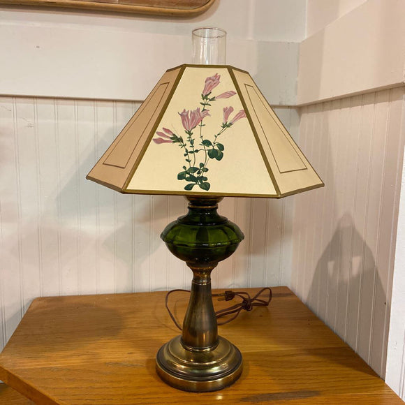 Green Glass & Antique Brass Lamp w Botanical Shade