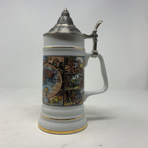 Gerz Germany World Map Porcelain Stein