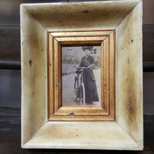 Load image into Gallery viewer, B/W Lady and Bike In Vintage Style Ivory and Gold Frame