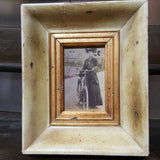 B/W Lady and Bike In Vintage Style Ivory and Gold Frame