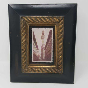 B/W Architectural Buildings in Black and Gold Band Frame