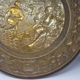 Large Vintage Brass Charger Village Scene
