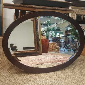 Modern Oval Black Beveled Wall Mirror