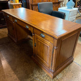Walnut Finish Executive Credenza and Hutch