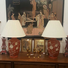Load image into Gallery viewer, Coral Glass MCM Lamps Overlay w Shades - Pair