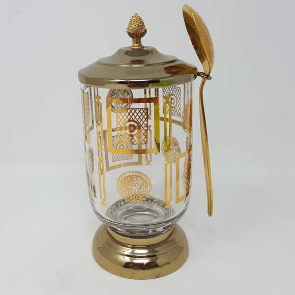 MCM Goldware Gold & Glass Condiment Relish Jar w Spoon