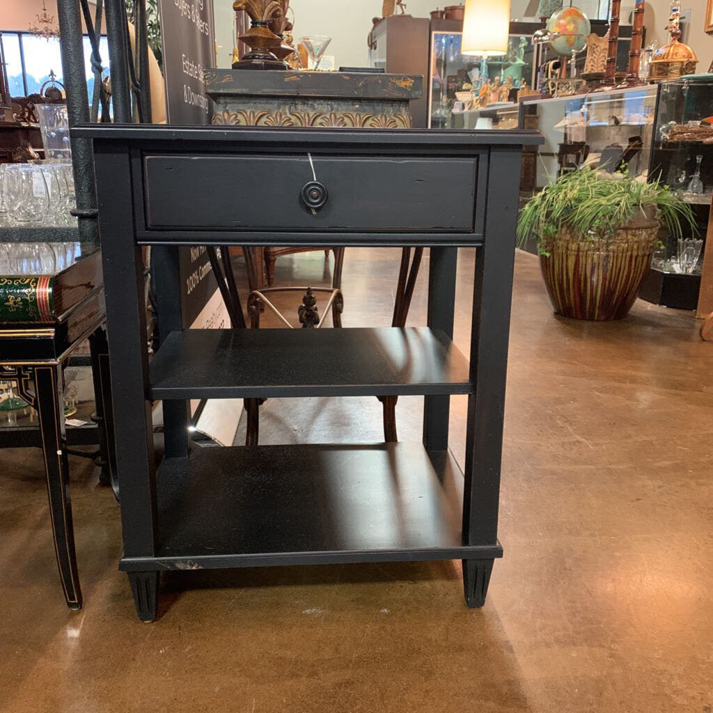 Ethan Allen Black Distressed Single Drawer Stand