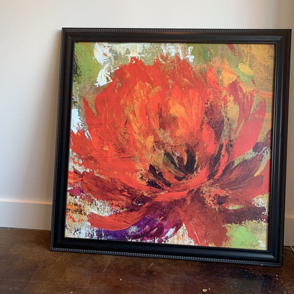 Abstract Red Floral in Black Frame