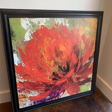 Load image into Gallery viewer, Abstract Red Floral in Black Frame