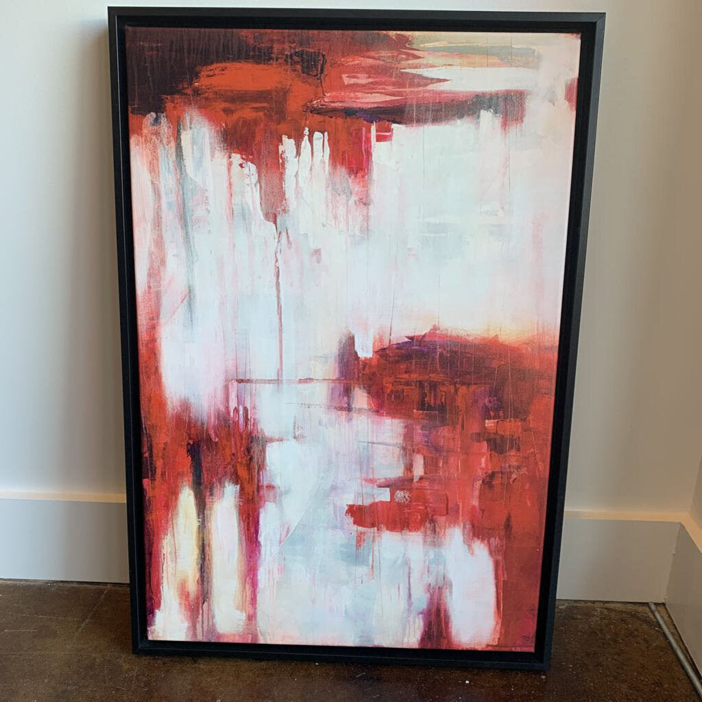 Abstract Red and White Canvas Art