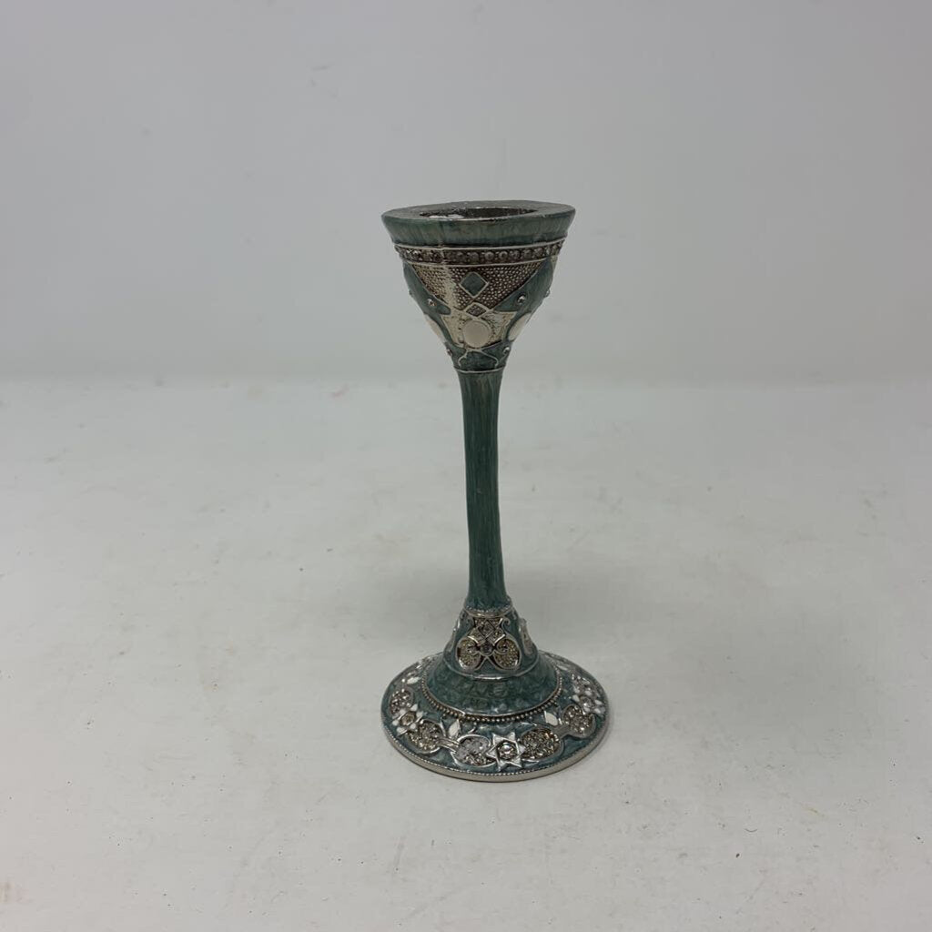 Green and White Enameled Candle Stick