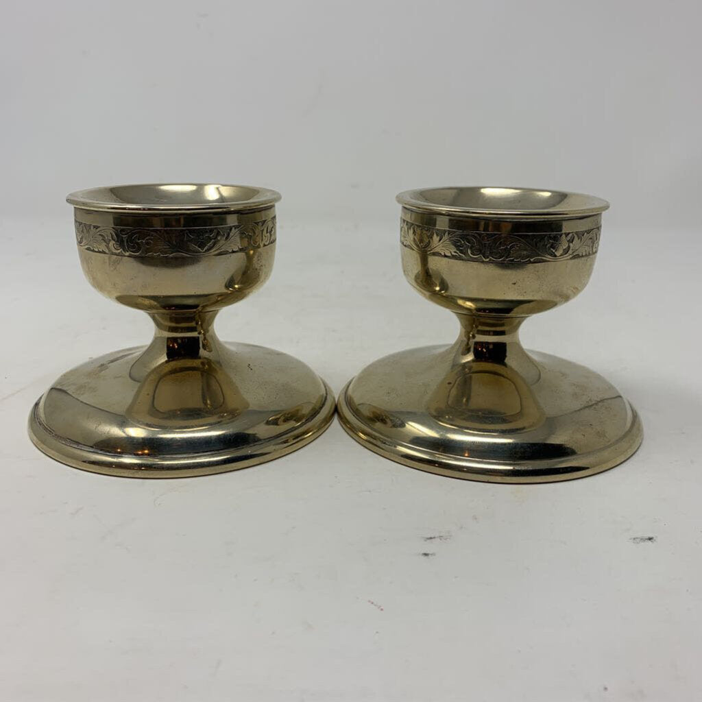 New Amsterdam Silver Co. Candlestick Holders- (Pr.)