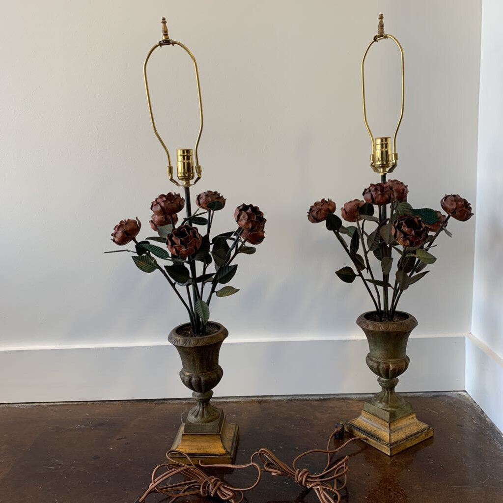 Tole Roses In Urn Lamps- (Pair)