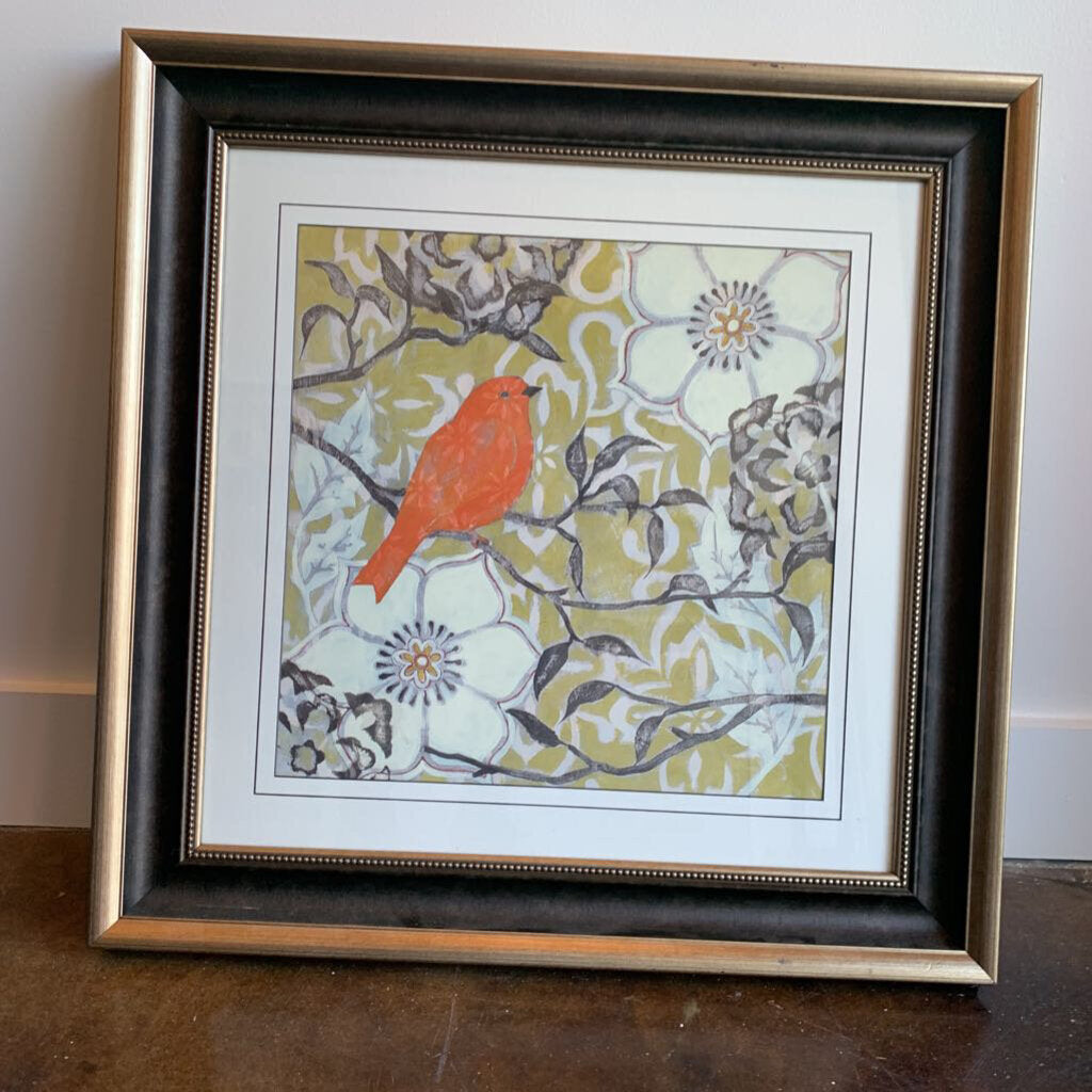 Cardinal in Flowers in Brown and Black Frame