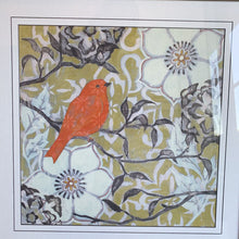 Load image into Gallery viewer, Cardinal in Flowers in Brown and Black Frame
