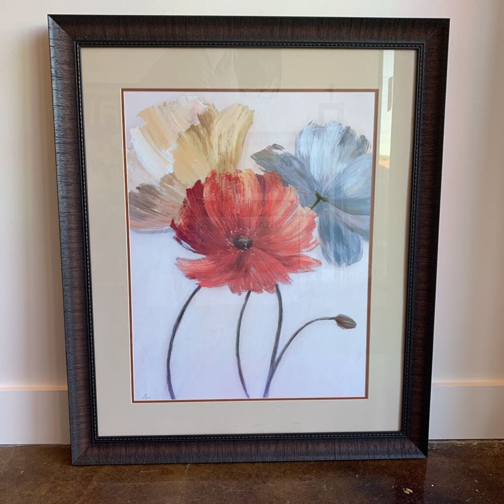 Three Flower In Brown Frame by Bassett Furniture