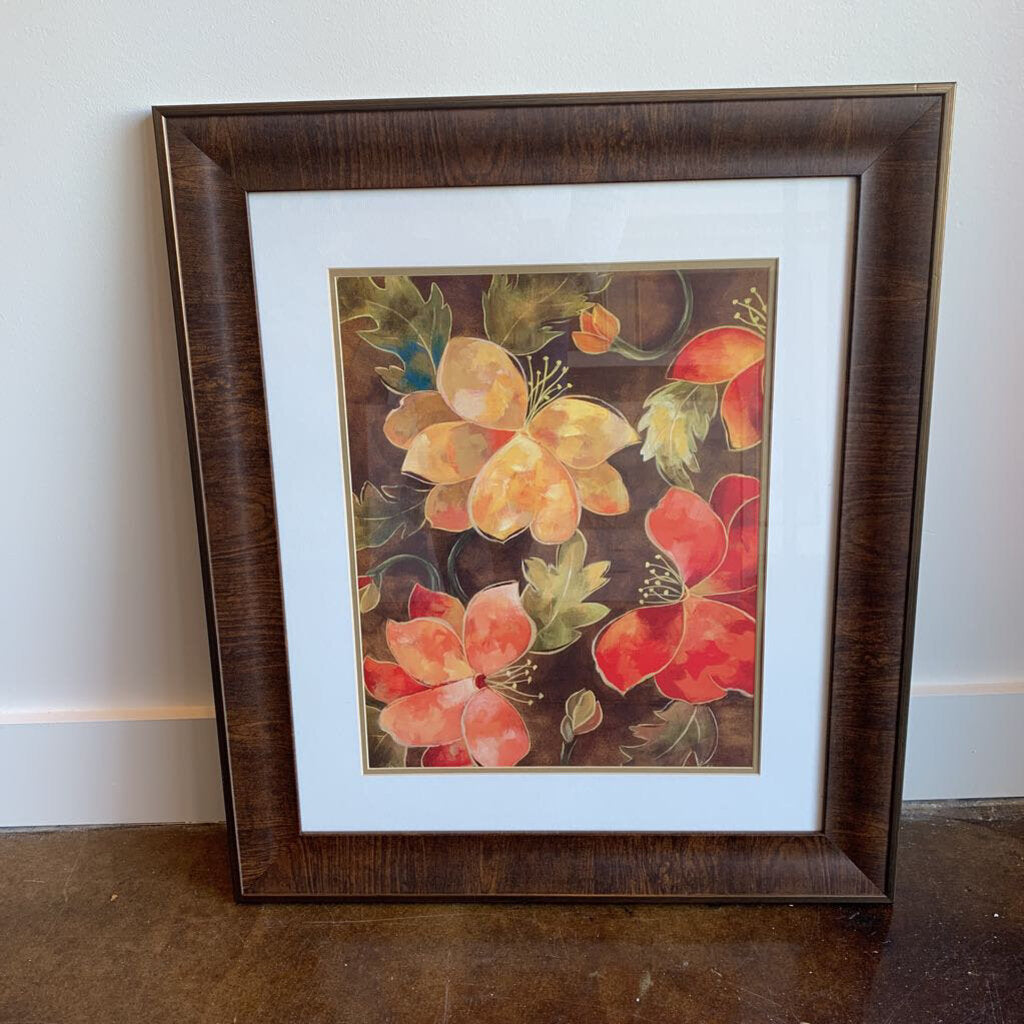 Fall Colored Floral in Brown Frame