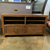 Walnut Finish 2 Drawer Console