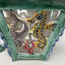 Load image into Gallery viewer, Italian V Pinto Vietri Majolica Lantern Sea Creatures