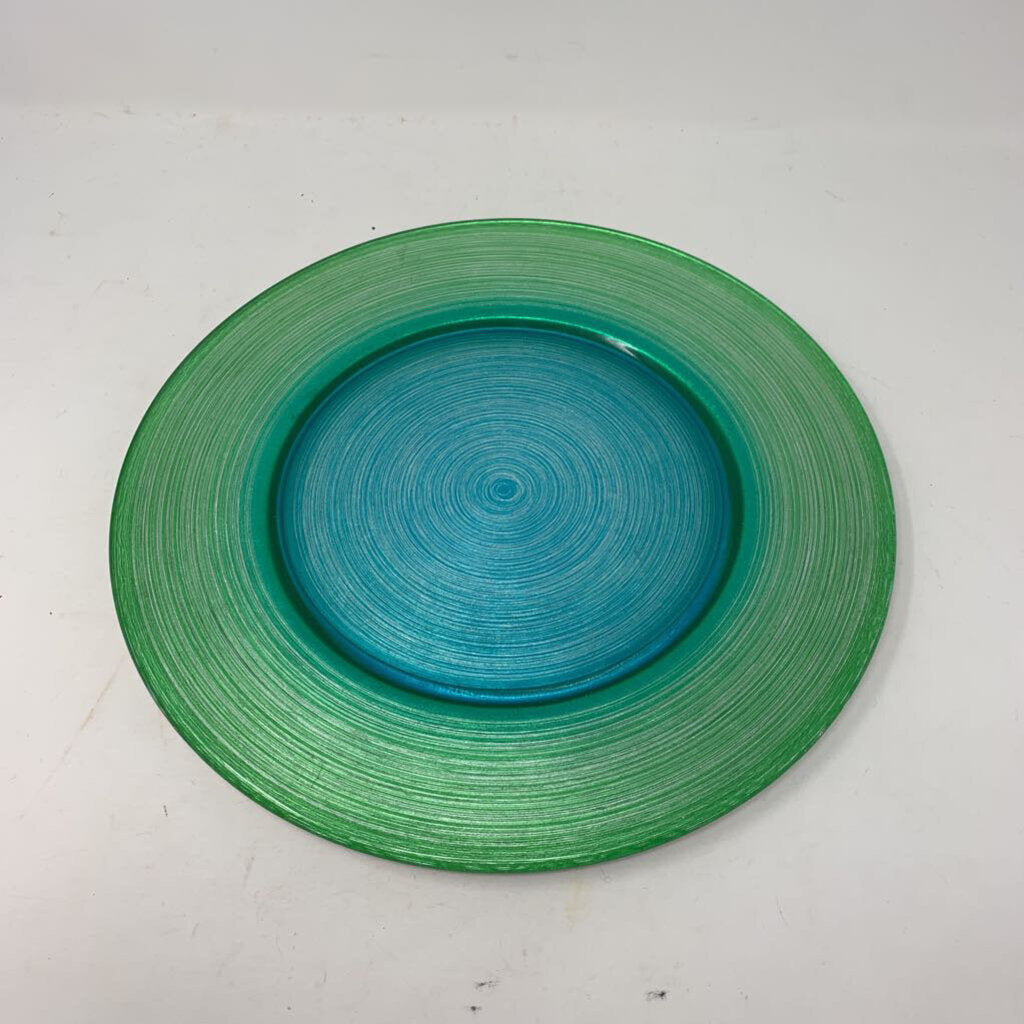 Glass Painted Green Swirl Plate