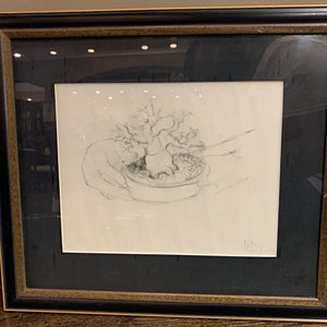Framed Bonsai Tree Sketch Signed by Rebecca