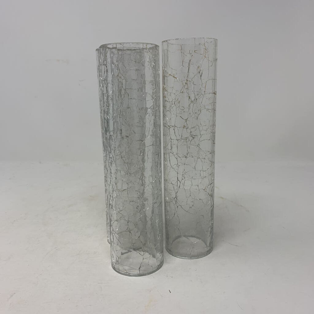 Crackled Hurricane Glass Candle Shade- Set of 3
