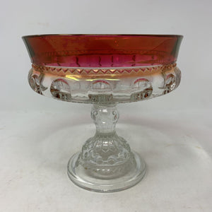 Round Compote King's Crown-Cranberry Flashed by Tiffin Franciscan