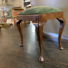 Load image into Gallery viewer, Vintage Mahogany Vanity Stool w Green Upholstery