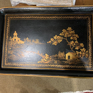 Black and Gold Asian Style Painted Tray