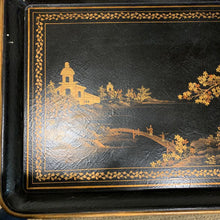 Load image into Gallery viewer, Black and Gold Asian Style Painted Tray