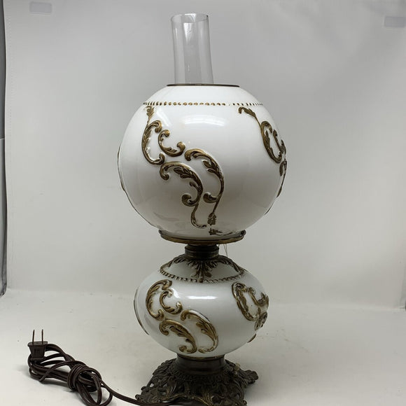 Milk Glass Converted Oil Lamp with Raised Scrolls