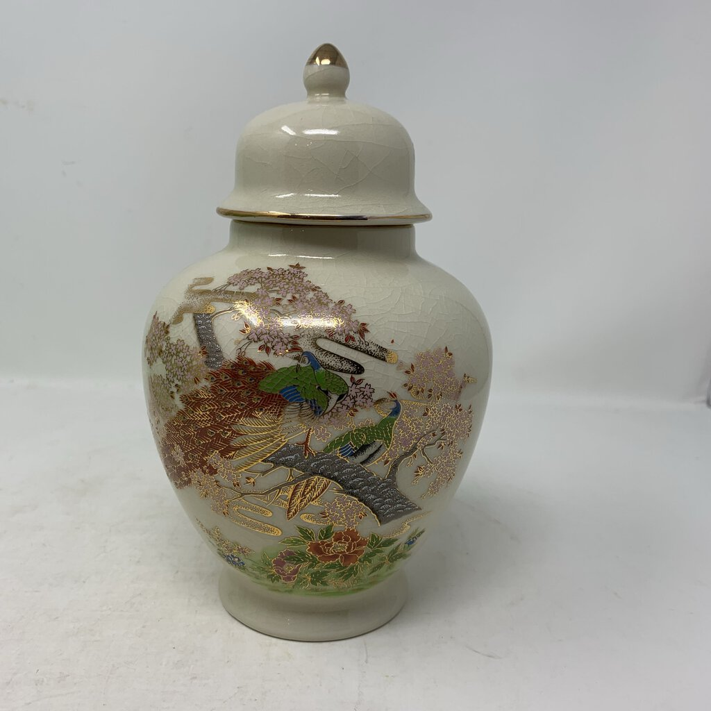 Japanese Ginger Jar with Peacocks