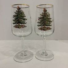 Load image into Gallery viewer, Spode Christmas Tree Wine Glass Water Goblet Gold Rim- (Pr.)